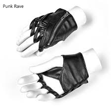 punk rave womens fingerless gloves black faux leather gothic fashion punk selpunk ws243 womens gloves