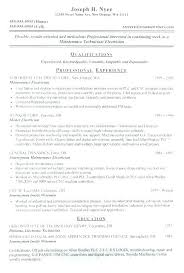 Maintenance Electrician Resume 8 Electricians Resume Example