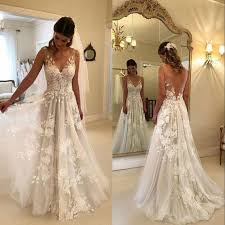 Anthropologie Dress Size Chart Discount Beach Boho Wedding Dresses 2019 V Neck Summer 3d Lace Appliques A Line Backless Custom Made Bridal Gowns Aline Wedding Dresses Anthropologie