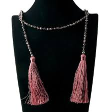 laser bead natural stone necklace nylon rope double tassel pendant necklace condole folk wind hand make necklace manufacturers and suppliers china