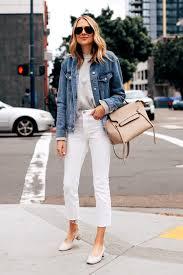 fashion jackson capsule wardrobe wearing top oversized denim jacket grey sweater everlane white cropped jeans everlane