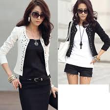 <b>Women Korean</b> Long Sleeve Shrug Suits <b>Blazer Short</b> Outerwear ...