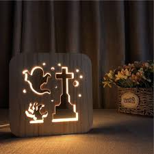 ซอทไหน Ghost Decor Nightlight Lovely 3d Wooden Night Light