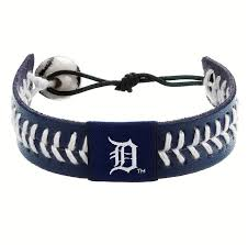 gamewear detroit tigers leather baseball bracelet