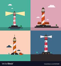 Beacon Design Beacon On Sea Landscape Lighthouse Flat Design Set