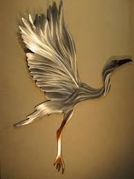 heron outdoor metal wall art