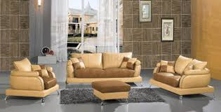 Two Tone Living Room Furniture 2222 Camel Brown Italian Leather 4 Piece Living Room Set