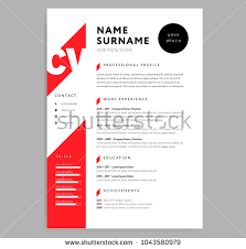 Cv Resume Template Beauteous Creative CV Resume Template Red Color Stock Vector Royalty Free