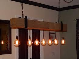 barn wood chandelier with vintage bulbs