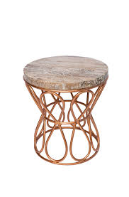 teak rose gold iron loop side table