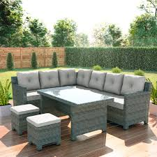 rattan corner dining sofa set 8