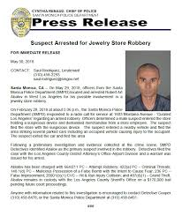 suspect arrested for curated los angeles jewelry robbery on montana santa monica police department nextdoor