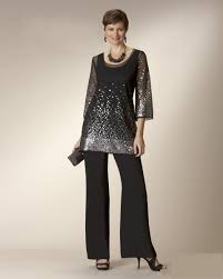 Glaring Black Twe Pieces Mother Of The Bride Dresses With Pant