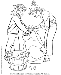 Small Picture Bagging Fall Leaves Coloring Kids Coloring Page Sheets of the