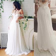 flowy wedding dresses. Simple White Lace Chiffon Wedding DressesFlowy Simple Beach Wedding