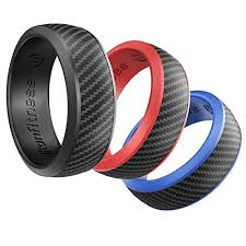 Details About Silicone Wedding Ring For Men 3 Pack Size 10 Black Blue Red Comes With A Gift