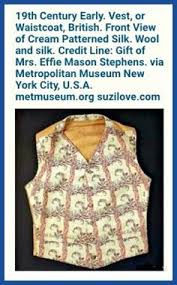 19th Century Early. Vest, or Waistcoat, British. Front View of Cream  Patterned Silk. Wool and silk. in 2020 | Waistcoat, Vintage dresses, Clothes