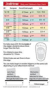 Foot Length To Shoe Size Chart Child Shoe Size Charts