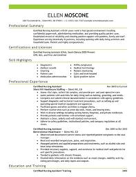 Certified Nursing Assistant Resume Example Emphasis Photo Album