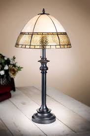 apricot flaxen dome mission tiffany table lamp 30 h