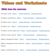 8 Grade Mathematics Chart Videos And Worksheets Corbettmaths