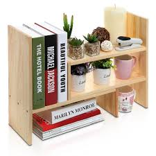 office desk with bookshelf. Adjustable Natural Bamboo Desk Bookshelf For Office Home Expandable Tidy Desktop Storage Organizer Display Shelf Rack Counter Top Bookcase - 3 Colors With