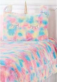 unicorn rainbow faux fur comforter set