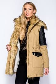 faux fur collar hooded leather look parka camel code 7010