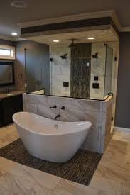 walk in shower lighting. Gorgeous Space-saving Tub And Shower Layout With Deep Soaking In Front Walk-in Behind. Check Out The Beautiful Tile Work, Recessed Lighting, Walk Lighting