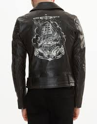 mens belstaff arlingham print biker jacket