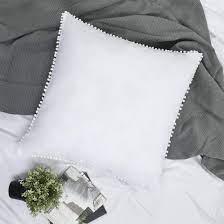 Amazon.com: YINFUNG Pom Euro Sham Covers White European Sham 26x26 Set of 2  Pom Large Fringe Euro Pillowcase Boho Cute Pretty Ball Tassel Trimmed Girls  100% Cotton: Home & Kitchen