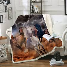 Horse Design Throw Blanket Sleepwish Western Horse Soft Fleece Throw Blanket Cowgirl Cowboy Galloping Horse Blanket Dream Catcher Blankets And Throws Horse Gifts For Women