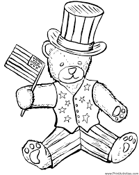 Small Picture Fourth of July Coloring Page Patriotic Teddy Bear