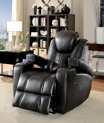 recliner with cup holder and storage. Perfect Recliner Zaurak Dark Gray Leatherette Recliner W Cup Holders U0026 Storage Power  Recliners Headrests In With Holder And Storage R