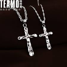 teamo his and hers necklaces wave cross necklaces for women and men sterling silver cross pendant with rope chain matching jewelry set for him