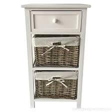 storage unit with wicker basket charles bentley wooden storage unit with wicker baskets and drawer white