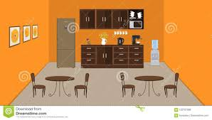 Office Kitchen In Orange Color Modern Dining Room In The Office
