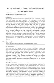 pdf gifted education in various countries of europe