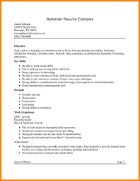 Bartender Resume Resumes Waitress Job Description Head Objective