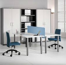 home office with two desks. Incredible Rectangle Shape White Office Home With Two Desks
