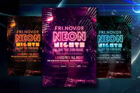 glow flyer neon nights glow party flyer template facebook cover louis