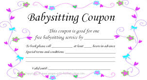 free babysitting babysitter if you have younger siblings that still need babysitting this unique mothers day gift idea