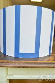 diy spray painted lamp shade stripes