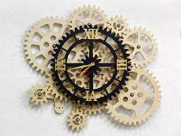 self rotating gears wall clock
