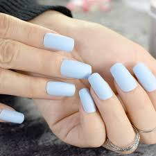 Matte Light Blue Square Head False Nails Middle Long Frosted Fake Nail Full Cover Nail Tips Fuax Ongles Finger Art
