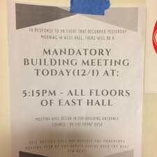 staff meeting flyer updated racist homophobic messages posted in webster dorm building