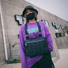 Túi Đeo Ngực Nam Nữ Túi Đeo Ngực Oxford Kanye Quân Đội Máy Tính Bảng Ipad  Hip Hop Thời Trang Đường Phố Túi Đeo Hông Màu Xám Đen 569