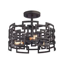 titan lighting garriston 3 light clay iron semi flush mount