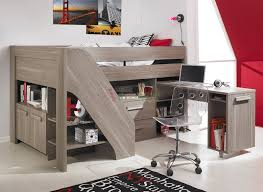 cool wood bunk beds with stairs in gray with storage on white tile floor matched with white wall plus desk for teen bedroom decor ideas childrens bunk bed desk full