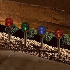 lighting solar star ball light stake beautiful 4 x solar colour changing le ball lights